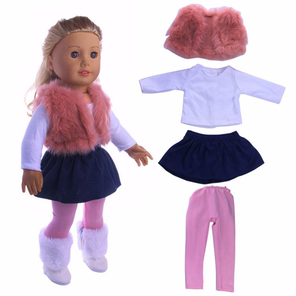 Fashion 4Pcs 18 American Girl Doll Clothes Dress Outfit Clothes Set  for Children Girl Doll's Clothing Accessories Girl Gift pink wool coat doll clothes with belt for 18 american girl doll