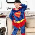 Зимний Мальчик героя Бэтмена Супермен человек паук Пижамы Дети фланелевой пижаме детский спортивный костюм для детей пижамы пижама для мальчика пижамы