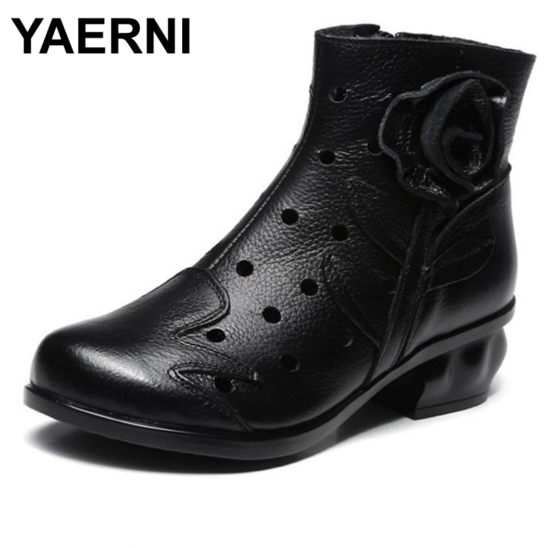 YAERNI Genuine Leather Women Boots Platform Thick Heels Round Toes Cut Out Hole Ankle Boots Med heeled Vintage Flower Shoes