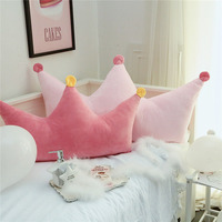 SunnyRain 1 Piece Velvet Pink Crown shaped Backrest Cushion For Sofa Cushion For Bed Back Support Include Pillow Core Washable
