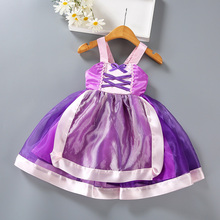 цены Halloween Rapunzel Cosplay Clothes Girls Dresses Long Hair Princess Dress Tangled Movie Girl Children Kids Costume Purple Dress