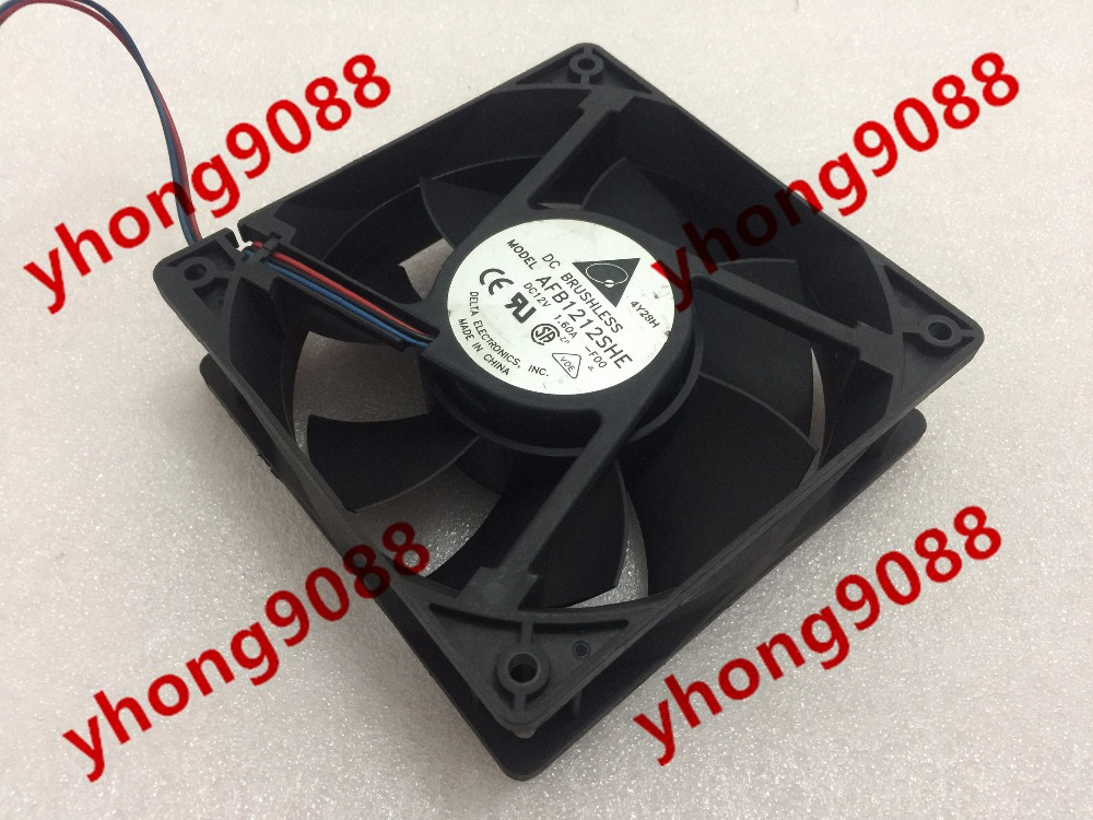 DELTA AFB1212SHE F00  DC 12V 1.60A 120x120x38mm Server Square fan what she left