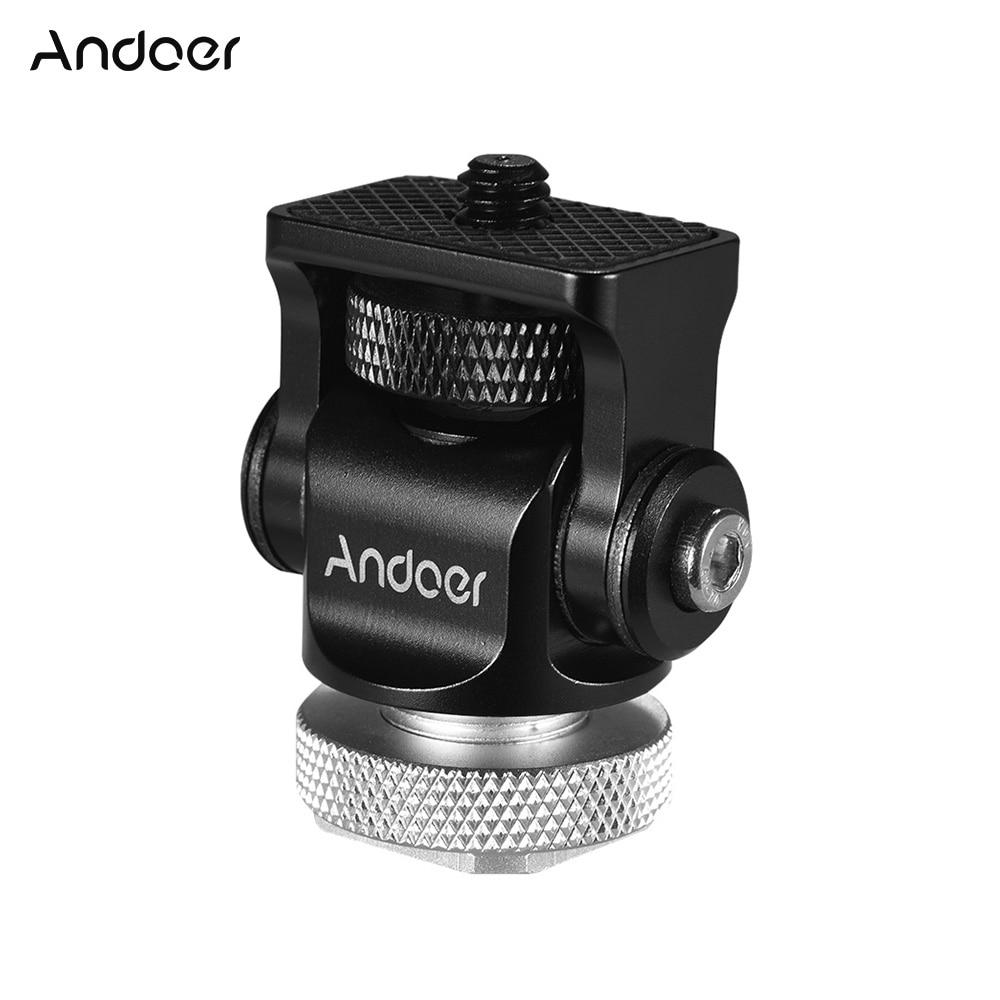 Andoer 180 Rotary Mini cabeza de bola Ballhead novedoso instantáneo adaptador de montura de zapata para cámara DSLR luz LED para vídeo Monitor Monopod trípode