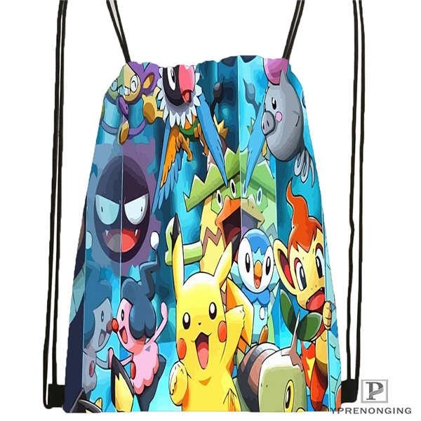 Custom pokemon black and white Drawstring Backpack Bag Cute Daypack Kids Satchel Black Back 31x40cm 180612