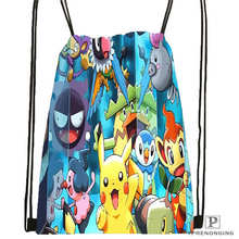 Custom pokemon-black-and-white Drawstring Backpack Bag Cute Daypack Kids Satchel (Black Back) 31x40cm#180612-02-24