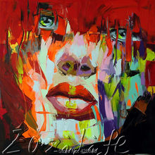 Palette knife portrait Face Oil painting christmas figure canva Hand painted Francoise Nielly wall Art picture for living room42