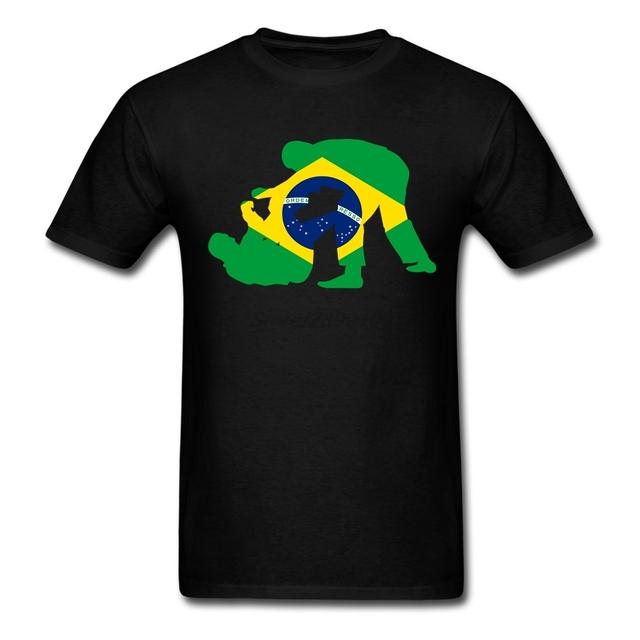 Brazilian Jiu Jitsu Algodão de Manga curta Crewneck T-shirt Dos Homens Designer De Menino 3XL Camisetas Casal