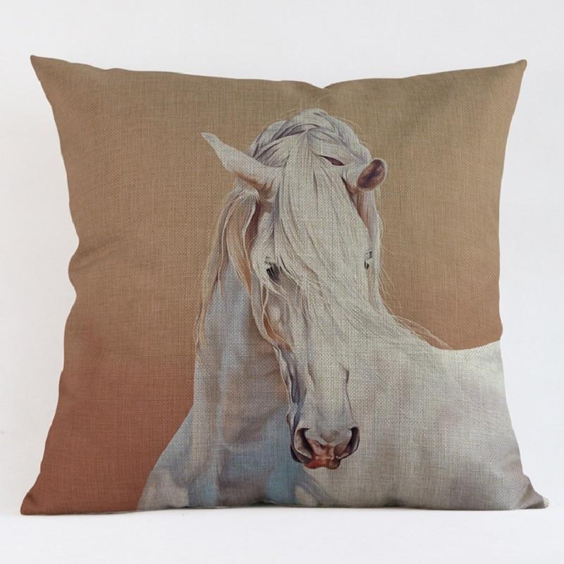 itm decor cases watercolor cotton horse cover linen cushion home pillow fashion