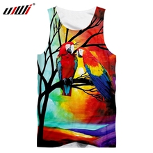 UJWI Vest Homme Hot Gyms 3D Sleeveless Shirt Print Red Parrot Summer Casual Oversized Attire Male Spring Tank Tops