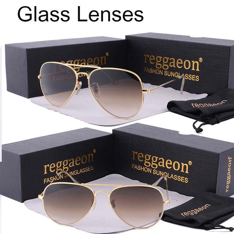 реггейон роскошные стеклянные линзы солнцезащитные очки женщины 2019 года высокое качество uv400 мужчины бренд дизайнер пляжная коробка лучи Pilot солнцезащитные очки G15