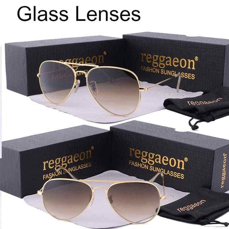 da527b2a5ee0 reggaeon luxury Glass lens sunglasses women 2019 High quality uv400 men  Brand Designer beach box rays