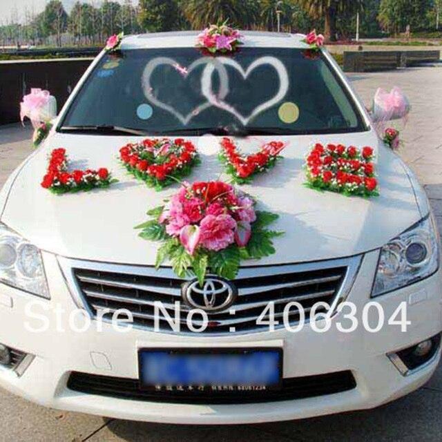 1 Satz Los Kunstliche Blumen Hochzeit Auto Blumen Dekoration