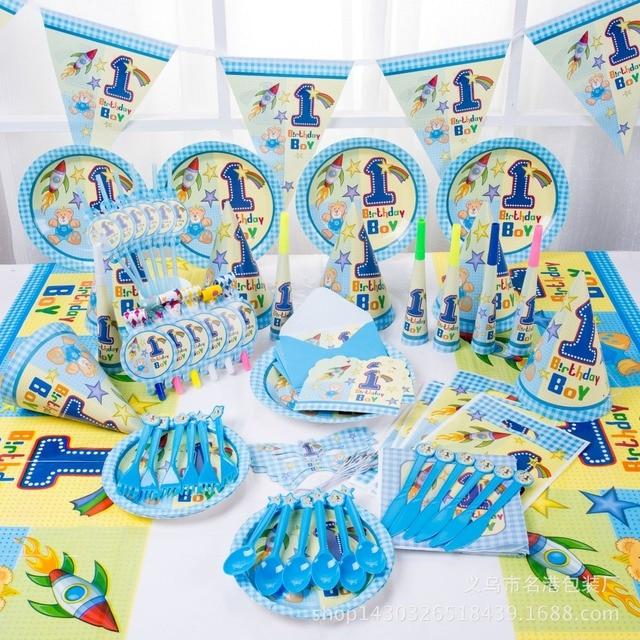 d1a2a660b1f61 90 unids niño Primer Cumpleaños cohete oso cumpleaños niños cumpleaños  decoración conjunto bebé cumpleaños fiesta paquete