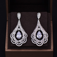 GODKI Brand New Fashion Luxury Water Drop Full Pave Cubic Zirconia Pave Wedding Dangle Earring For Women 5.6CM*2.7CM