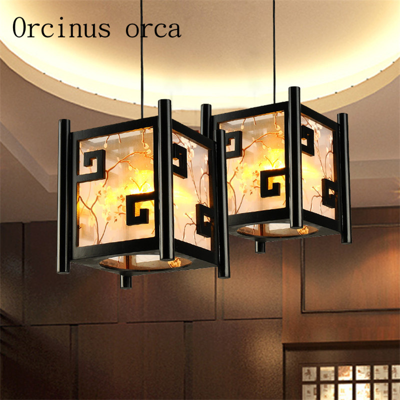 New Chinese style modern LED sheepskin chandelier living room aisle restaurant simple creative solid wood retro lamp chinese modern creative lamp lift shrink mahjong chess room chandelier wood chandelier restaurant lamp