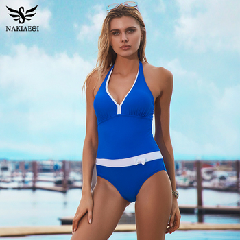 NAKIAEOI 2018 New One Piece Swimsuit Women Vintage Bathing Suits Halter Plus Size Swimwear Sexy Monokini Summer Beach Wear Swim 2