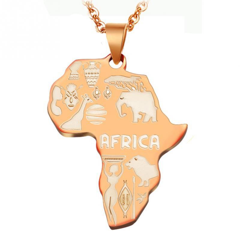 4 цвета Африка Карта Подвеска Цепочки и ожерелья для Для женщин/Для мужчин Эфиопии ювелирных изделий африканские Карты хип-хоп Цепочки и ожерелья поставки - Окраска металла: Посеребренный