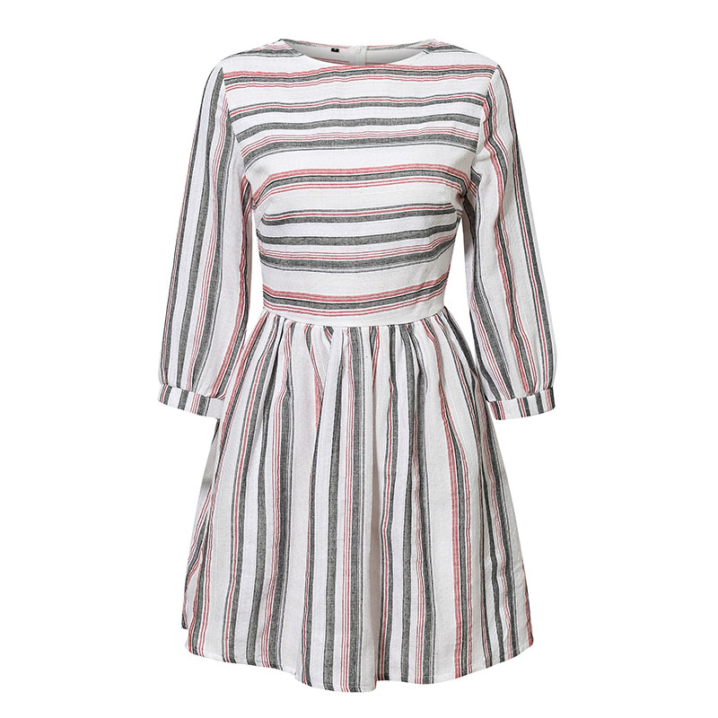 Elagant Striped O-Neck Beach Mini Dress 13