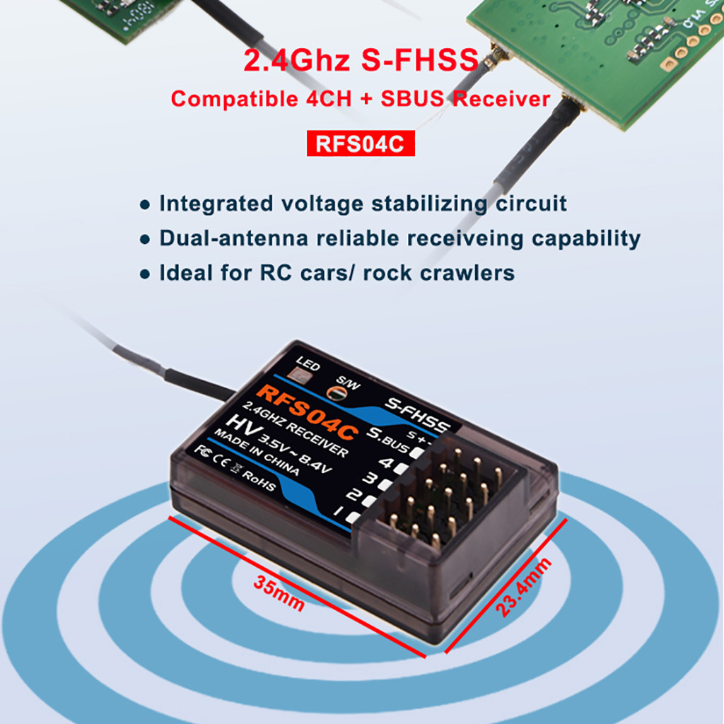AGFRC RFS04C 2.4G 4CH+SBUS Compatible S-FHSS Receiver for RC Car Accessories Toys for Children Parts 6.14