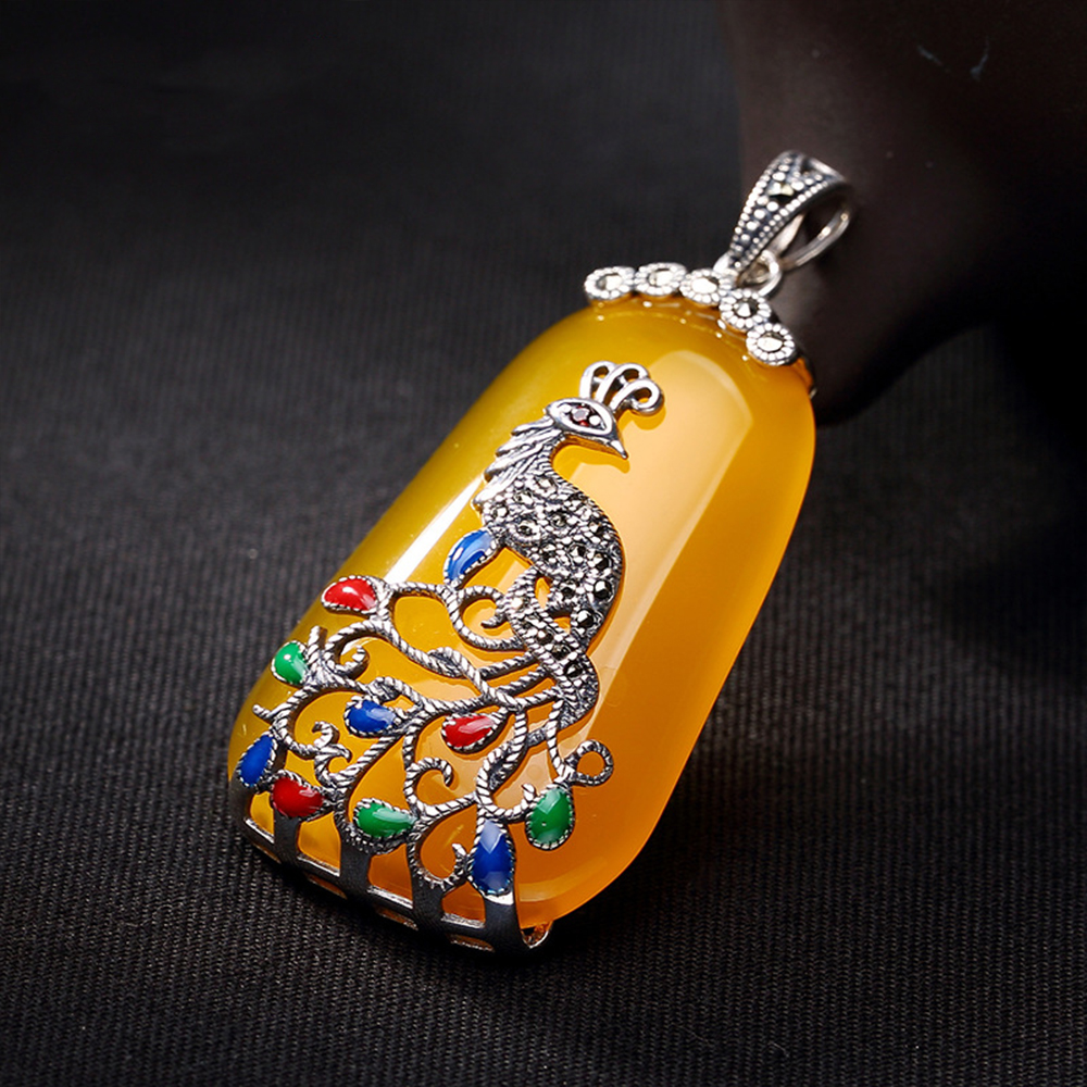 MetJakt Natural Yellow Chalcedony Pendant with Zircon Solid 925 Sterling Silver Peacock Pendant for Sweater Chain Fine Jewelry 925 silver green yellow chalcedony agate pendant buckle female sweater chain large round jade pendant