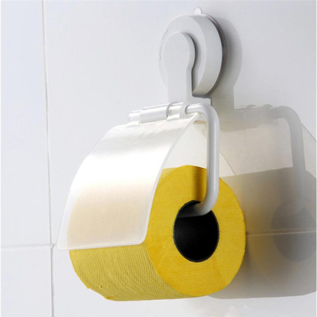 Sucker Toilet Paper Holder Rack Plastic Wall Mounted Tissue Paper