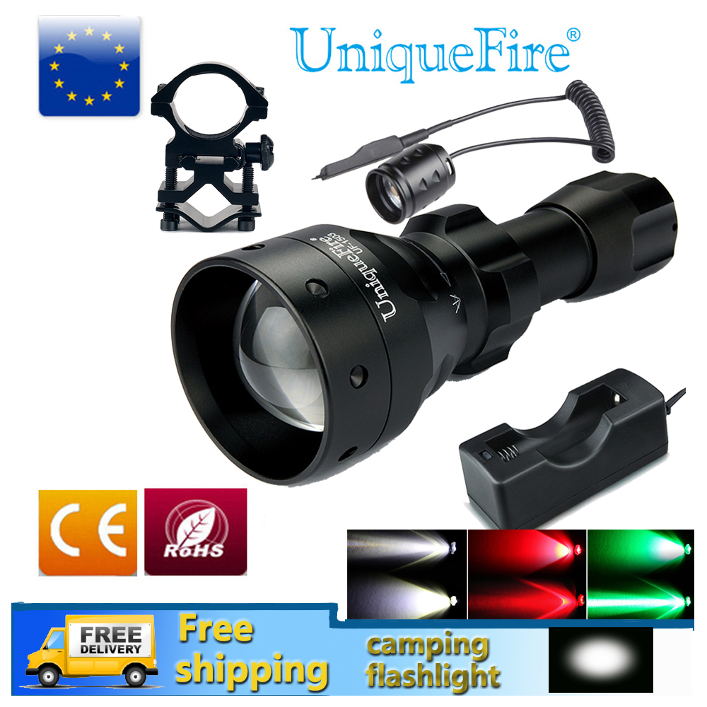 UniqueFire LED Flashlight UF1503 White/Green/Red Light Tactical Waterproof  LED Torch+Charger+Tail Switch+Gun Mount led hunting flashlight uniquefire green red white light uf 1503 xpe torch alumium metal for outdoor camping free shipping
