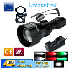 UniqueFire LED Flashlight UF1503 White/Green/Red Light Tactical Waterproof LED Torch+Charger+Tail Switch+Gun Mount