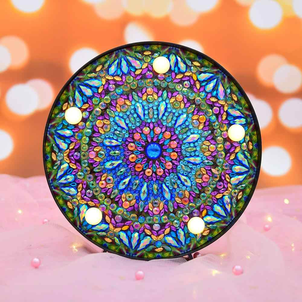 DIY Mandala LED Diamond Painting Lamp Cross Stitch Embroidery Full Special Drill Diamond Painting Led Light Home Decoration