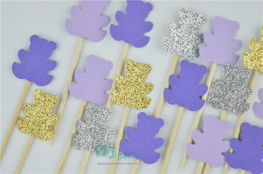 40pcs Teddy Bear Cupcake Toppers, Teddy Bear Theme Party Decor, Teddy Bear Picnic, Baby shower Decor, purple Birthday Decor
