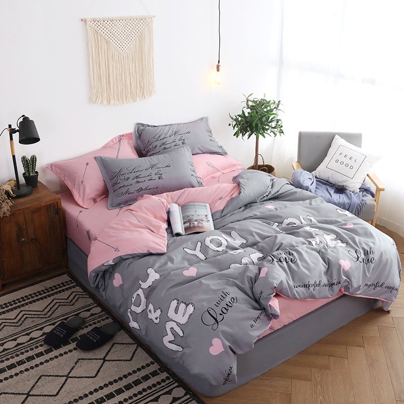 US $32.04 41% OFF|BEST.WENSD Quality adults girls boys Home textile bed  comforter pink gray bed clothes comforter bedding sets wedding bed sheet-in  ...