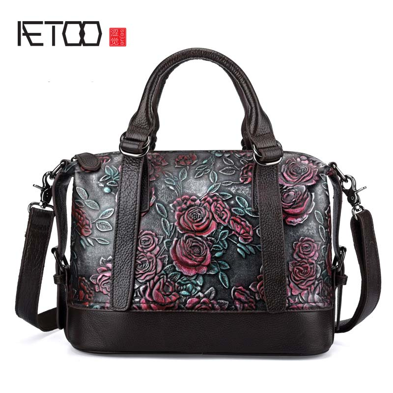 AETOO The new embossed rub color bag leather fashion leather handbag elegant retro real leather handbag women shoulder bag yuanyu 2017 new hot free shipping real python skin snake skin color women handbag elegant color serpentine fashion leather bag