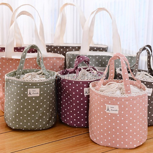Free Shipping 2Size Waterproof Thermal Cooler Insulated Dots Lunch Bag Tote Carry Storage Picnic Pouch Bag