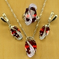 Mystic Oval Red Created Topaz 925 Silver Jewelry Sets For Women Wedding Accessories Earrings/Pendant/Necklace/Rings T078