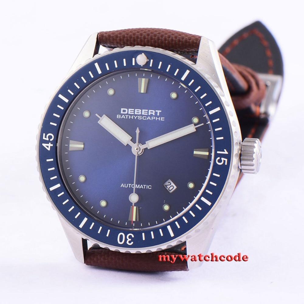 43mm Debert blue dial ceramic bezel Sapphire miyota 821A Automatic mens Watch38 43mm debert blue dial ceramic bezel sapphire glass miyota automatic mens watch 32