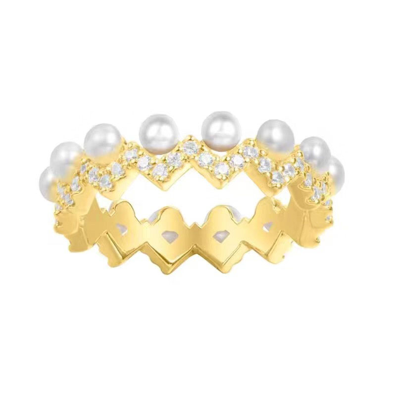 SLJELY Women 925 Sterling Silver Yellow Gold Color Up and Down Ring with Pearl Cubic Zirconia Stones Zigzag Finger Rings Jewelry