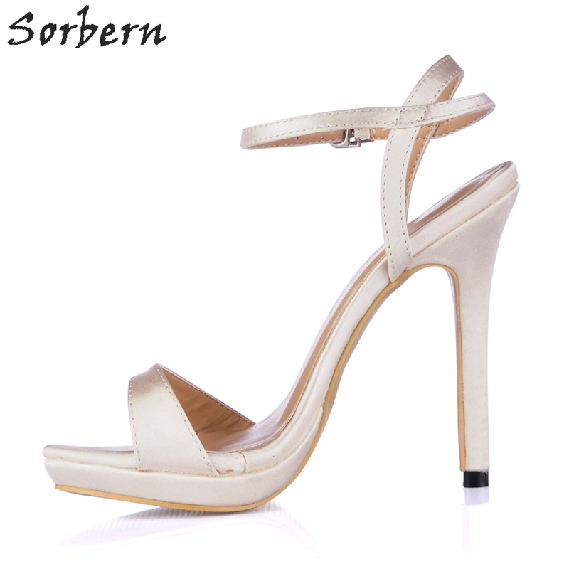Sorbern Concise Ivory Silk Wedding Shoes Ankle Strap Summer Sandals For Women Ladies Party Shoes Bridal Shoes Multi Colors cootelili real fur ankle strap gladiator sandals women flats 2017 summer tassel shoes ladies wedding beach sandals bohemian