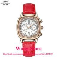 2016 Venta Caliente IBSO BOERNI Cristal Decorado Square Dial Reloj Análogo de Las Mujeres Con Impermeable y Banda de Cuero 6820