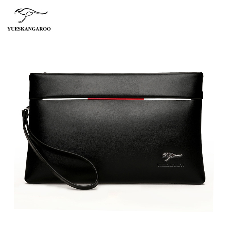 YUES KANGAROO Brand Men Clutch bag PU Leather Large Capacity Soft Leather Casual Envelope Wallets Youth mobile phone Handy Purse