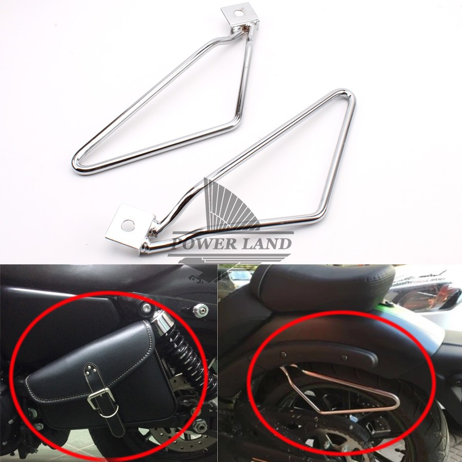 Free Shipping 1set Motorcycle Chrome Saddle Bag Support Bar Bracket Mount Kit For Harley Sportster 883 XL Dyna free shipping 2018 uglyuros motorcycle retro back seat bag 883modified car multi function kit bag moto bag with waterproof cover