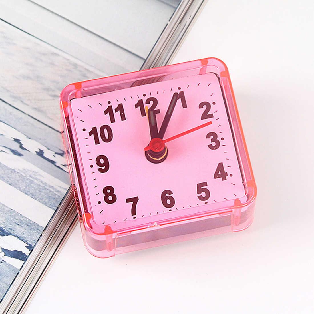 Bunte Quadratische Kleine Bett Wecker Transparent Fall Compact Travel Uhr Mini Kinder Student Schreibtisch Uhr Home Schlafzimmer Dekor