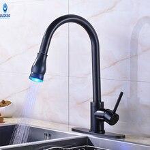 Ulgksd черный LED кухонный кран Pull Out Кухонная мойка кран гибкий шланг палуба Гора ручной кухня смесители воды