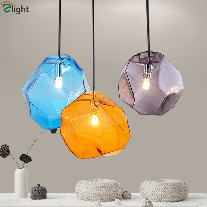 Modern Minimalism Irregular Colorful Pendant Light Plated Crystal Glass Led G9 Cord Suspension Lamp For Bar Dining Room