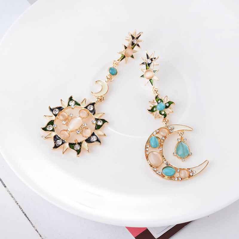 HOCOLE Irregular Rhinestone Sun Moon Drop Earrings Pendant Crystal Asymmetry Long Dangle Earrings For Women Wedding Jewelry