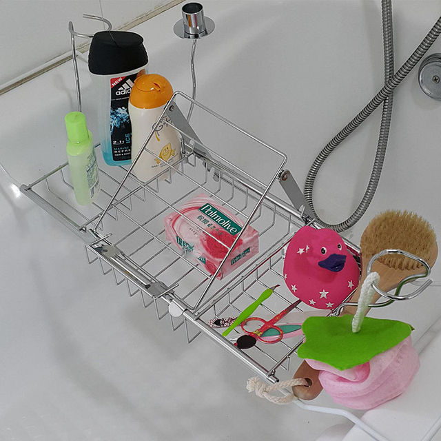 YONTREE 1 Pc Stainless Steel Expandable Bathtub Reading Rack Wine ...
