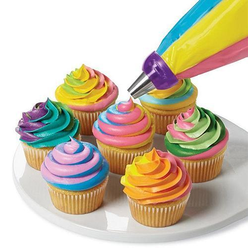 1 pz Utile Icing Piping Bag Convertitore Ugello 3 Foro 3 di Colore Crema Accoppi