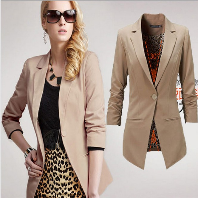 Womens Blazers 2014 Shrug Coat Black Womens Jackets Fashion 20133/4 Sleeves Black Khaki W25-in ...