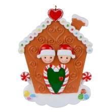 Wholesale Resin Maxora Gingerbread House Family of 2 Personalized Ornament for Christmas, New Year decoration, gift, keepsakes цены
