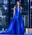 Elegante azul real vestidos de noche con falda desmontable a line piso-longitud satén vestidos de noche por encargo