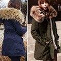 Большой размер зима дамы куртки и пальто 2016 мода хлопка-ватник подкладка зимнее пальто меховым воротником и пиджаки 9091