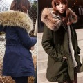 Plus Size Winter Ladies Jackets and Coats 2016 Fashion Cotton Padded Lining Winter Coat Jacket Fur Collar Overcoat Outwear 9091
